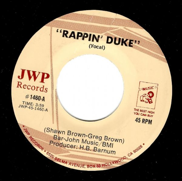 SHAWN BROWN Rappin' Duke Vinyl Record 7 Inch US JWP 1985